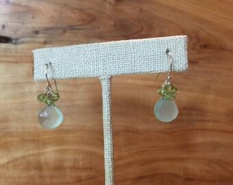 Adorable Aqua Chalcedony and Peridot Petite Dangling Earrings