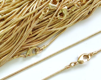 22ct Gold Plated Necklace Snake Chain 16 Inch 4PC 10PC