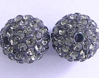 10 Black Diamond Quality Pave Rhinestone Disco Balls 8mm 10mm 12mm Shamballa Beads