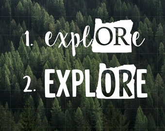 Explore Oregon Vinyl Decal | MacBook Decal | Car Decal | Laptop Decal | Water Bottle Decal | Yeti Decal | iPhone Decal |