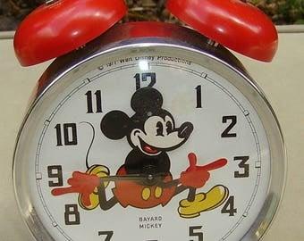 Mickey Mouse Bayard Clock novelty animated alarm clock 1977