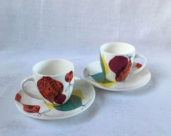 Vintage Expresso Coffee Cups and Saucers Colourful Retro Kitsch