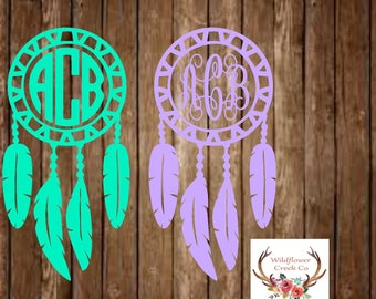 Dream Catcher Monogram Vinyl Decal - Dream Catcher Decal - Dream Catcher Sticker - Monogram Decal - Monogram Sticker