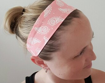 Light pink headband, adult headband, paisley print, bandana headband, hair accessories, cotton headband, elastic back headband, gift for her