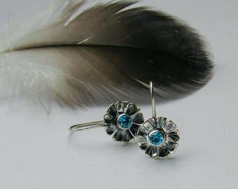 Flower Dangle Earrings, Blue Stone Earrings, Artisan Earrings, Oxidized Silver, Lightweight Earrings, Boho Flower Earrings, Girlfriend Gift