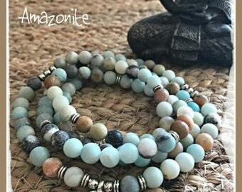 Amazonite Mala, 108 beads, Mala Bracelet, Reiki, Buddha, Rosary, Prayer beads, healing stones, Lotus mala, meditation mala, yoga jewelry