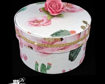 Pink Roses with Green Cacti Paper Mache Jewelry Box, Spring Rose Collection, Storage Box, Trinket Box, Garden, Mother's Day Gift, Birthday