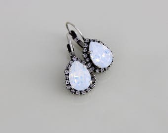Bridal earrings, Bridal jewelry, Bridesmaid earrings, Wedding jewelry, White opal, Swarovski crystal earrings, Antique silver earrings