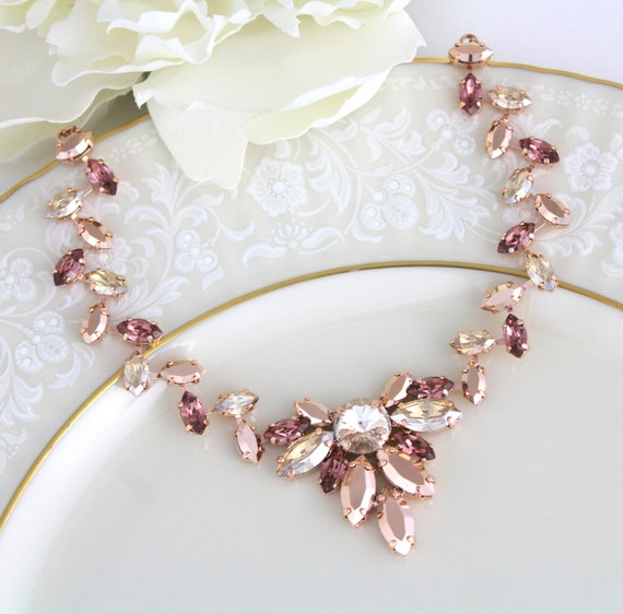 Rose gold necklace, Blush Bridal necklace, Bridal jewelry, Statement necklace, Swarovski necklace, Wedding necklace, Wedding jewelry