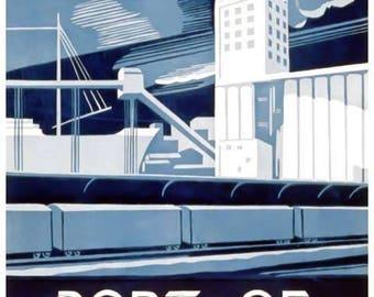 Port of Philadelphia Travel Poster - Vintage Travel Print Art - Home Decor