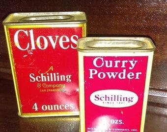 Vintage Schilling Spice Tins, Curry Powder, Cloves, San Francisco, 1950s