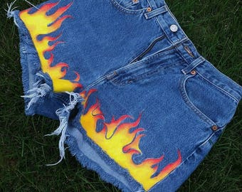 Hand Painted Flame Shorts