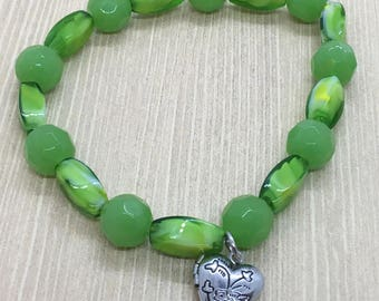 Green Beaded Bracelet with Locket Charm