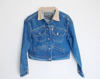 Vintage Denim Jacket Corduroy Collar