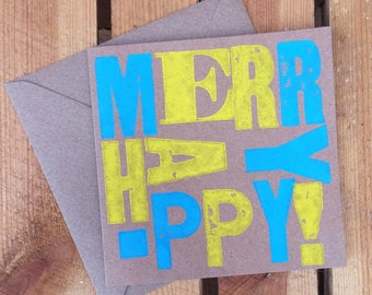 Handprinted Letterpress 'Merry Happy' Card