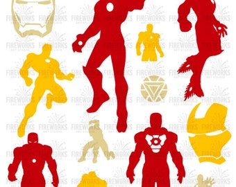 Iron Man silhouette - Iron Man ClipArt - Iron Man SVG – png eps dxf jpg Files - SVG Files for Silhouette Cameo - Print and Cut - Superhero