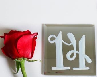 Mirror Table Numbers for Wedding or Event - 5 x 5 , available 1 - 50 -
