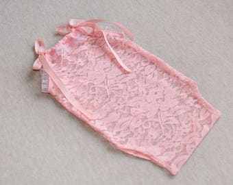 Lace romper for newborn, Light coral pink lace outfit for baby, stretch bodysuit for photo session, Photo props for baby girl, Frill sleeves