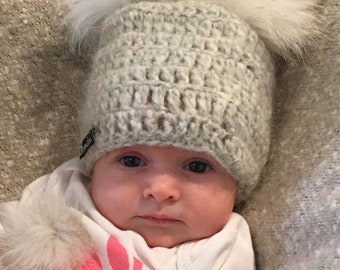 FREE SHIPPING! Easter Sale! 3-6 Months - Grey Crocheted Baby Pom Pom Beanie - Made with Ultra Soft Alpaca Wool Blend