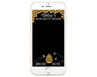 Bachelorette Snapchat Geofilter - Beyonce Theme - Bee Filter - Gold Glitter - Slay - Birthday Geotag - We Slay