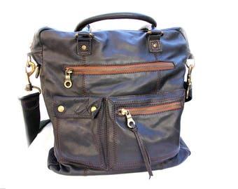 Vintage Leather bag Tote Bag Leather Tote Handbag linen Bag Leather Handbag Women Leather Bag Shoulder Bag Italian Bag