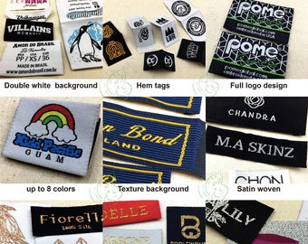 Custom satin woven labels,  satin woven clothing labels, satin clothing labels custom