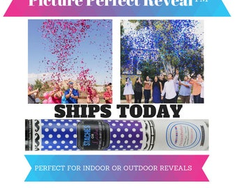 """Staches or Lashes Gender Reveal Confetti Cannon 12"""" 