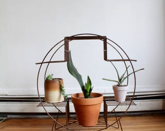 Mid Century, Atomic Brown Metal Plant Stand, Wire, Iron, MCM, Midcentury, Retro, 1960s planter, Round Plant Shelf, Display