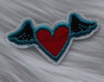 Flying Heart DIY Iron-on Embroidered Patch!
