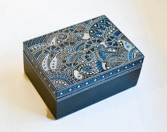 Silver blue jewelry box Wooden box Acrylic hand painted Mehndi Paisley Anniversary gift Wooden Keepsake Box Gift for wife Girls room decor