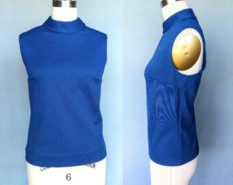 mindy / 1970s mod mock neck tank top shell in blue / medium