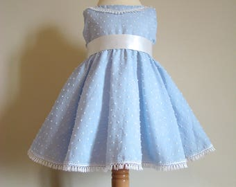Vintage baby dress in cotton blue sky with white dots off relief 3D