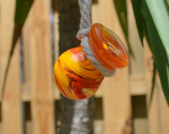 Essential Oil Car Diffuser / Car Freshener- Orange/Yellow Hand Blown Glass