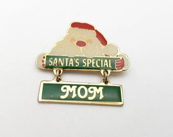 Vintage Santa's Special Mom Santa Claus Brooch Gold tone metal with Enamel Marked SWIB 1980 Taiwan Christmas Gift for Mother Mommy Holiday