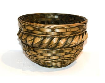 Rustic Farmhouse Woven Basket by BigMuddyVintageShop