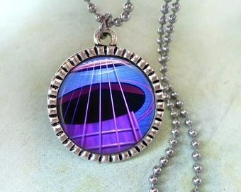 Purple and Blue Guitar Sound Hole Necklace, Musician Gift, Guitarist Birthday Gift, Acoustic Guitar, Guitar Player Gift, Music Lover Gift
