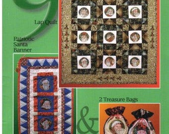 "Nine Santas: Quilted Project Instructions and Cross Stitch Charts"" booklet with Machine Embroidery CD"