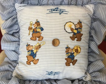 Baby Boy throw pillow embroidered with musical bears - drums, cymbols, trumpet, marching band leader - nursery decoration baby shower gift