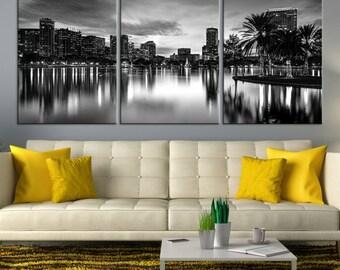Extra Large Wall Art Orlando City Canvas Print - Black and White Orlando City Skyline Wall Art, Orlando Florida Canvas Gift, Interior Decor