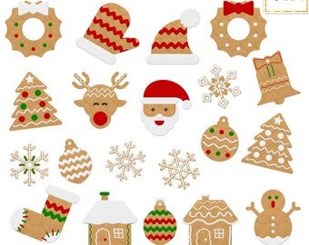 Christmas Gingerbread Cookies Clipart, Christmas Clipart, Gingerbread Clipart, Christmas Graphics, Commercial Use, Holiday Graphics Xmas PNG