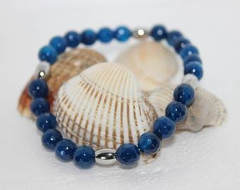Men's bracelet with heavenly and blue agate