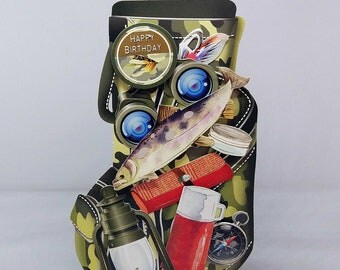 3D Fishing Bag Male Birthday Handmade Card -luxury personalised unique quality special bespoke UK -Dad/Son/Uncle/Brother/Nephew/Granddad
