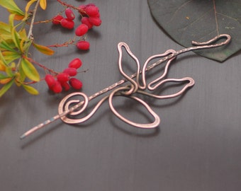 Flower brooch barrette copper Celtic Shawl Pin Jewellery Copper Anniversary Gift Cooper shawl pin Wire wrapped brooch Wire wrap jewelry
