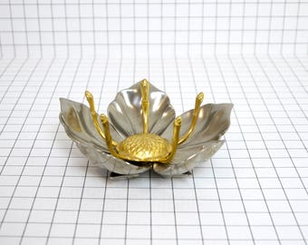 Vintage metal and brass flower ashtray, flower ashtray, chrome metal brass petals ashtray, midcentury french ashtray, individual ashtray