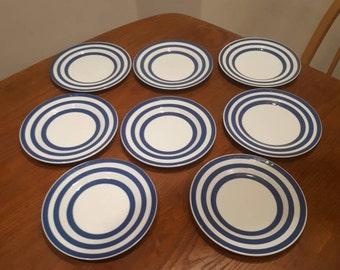 8 Side Plates Swinnertons Somerset Blue Striped