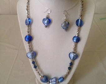 Blue Butterfly Necklace Earring Set