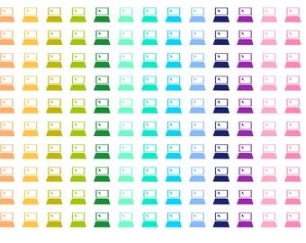 Rainbow Computer / Work Icon Planner Stickers
