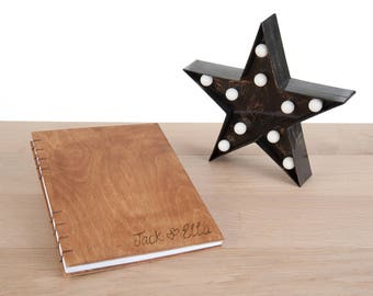 Personalised Wood Cover Photo Album Journal with Coptic Binding