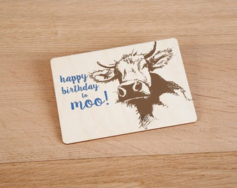Happy Birthday To Moo! Wooden Birthday Postcard - TreeMail