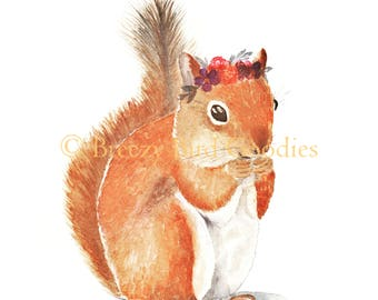 Happy Squirrel Print, Watercolor Squirrel, Animal with Flower, Woodland Nursery Print, Squirrel Illustration, Kids Room Decor, Cute Squirrel